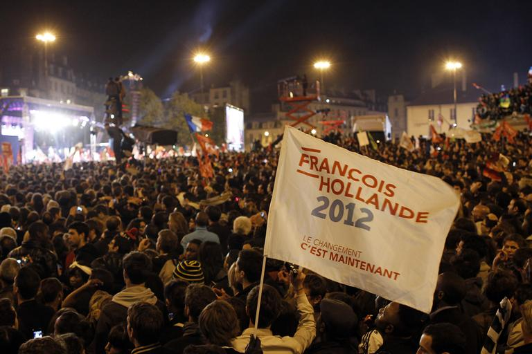 Supporters of Socialist candidate Francois Hollande celebrate his victory in the second round of French presidential elections at Bastille Square in Paris, France, Sunday, May 6, 2012. (AP)