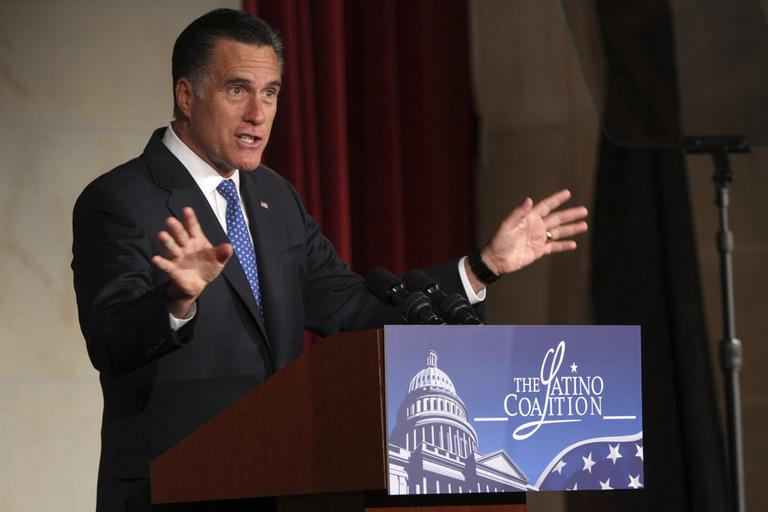 Republican presidential candidate, former Massachusetts Gov. Mitt Romney addresses the Latino Coalition's 2012 Small Business Summit, Wednesday, May 23 in Washington. (AP)