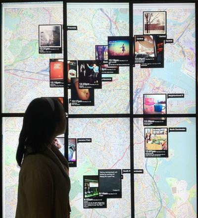 """Snap"" pinpoints where people in Greater Boston are posting pictures using the app Instagram. (Courtesy The Boston Globe)"