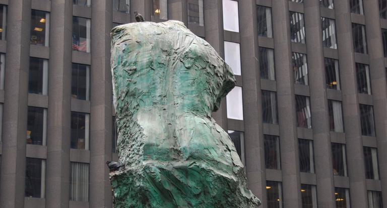 Venus De Milo sculpture in front of the Calyon building in Manhattan, home of the Dewey & Laboeuf LLP headquarters. (Courtesy Michelle Verdugo)