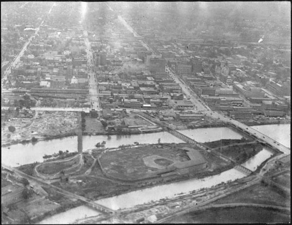 Island Park was the host site for a baseball game between an all-black team and a team made up of Ku Klux Klan members. (Courtesy Wichita State University)