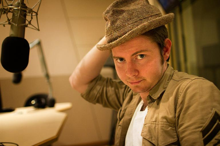 Musician John Fullbright at Here & Now studios at WBUR in Boston. (Jesse Costa/Here & Now)