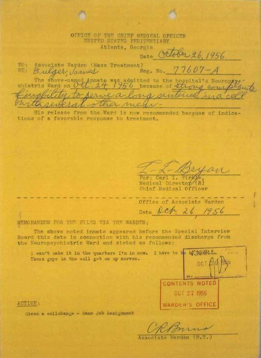 Click the image for a larger version of this 1956 report, which details that Bulger was admitted to the psychiatric ward. (Courtesy of David Boeri)