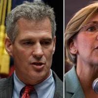 Sen. Scott Brown, left, and Senate candidate Elizabeth Warren (AP)