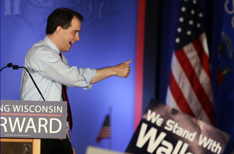 Wisconsin Republican Gov. Scott Walker reacts at his victory party Tuesday, June 5, 2012, in Waukesha, Wis. Walker defeated Democratic challenger Tom Barrett in a special recall election. (AP)
