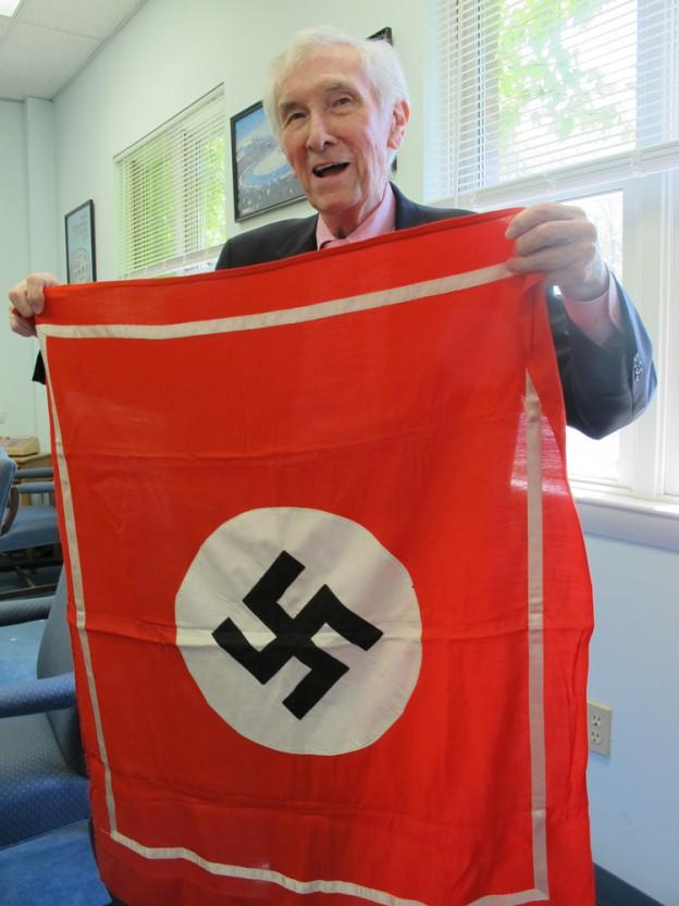Jack McGlynn, the former mayor of Medford and a soldier in the Ghost Army's sonic deception unit. (Andrea Shea/WBUR)