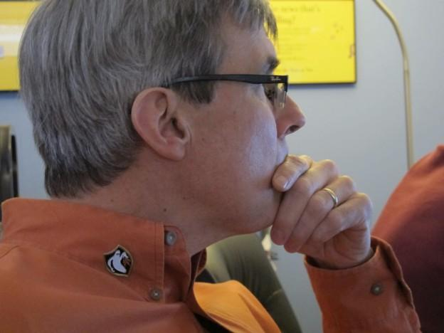 Filmmaker Rick Beyer proudly wears the Ghost Army's unofficial insignia. (Andrea Shea/WBUR)