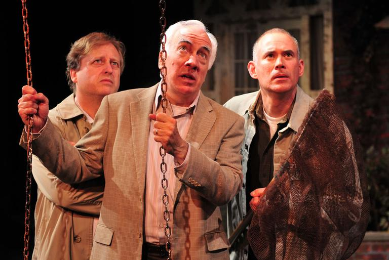 """Steve Barkhimer (Norman), left, Richard Snee (Reg), center, and Barlow Adamson in Gloucester Stage Company's """"Round and Round the Garden."""" (Courtesy Gloucester Stage Company/Gary Ng)"""