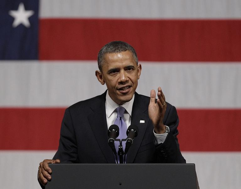 President Obama addresses supporters during a campaign fundraiser at Symphony Hall in Boston. (AP)