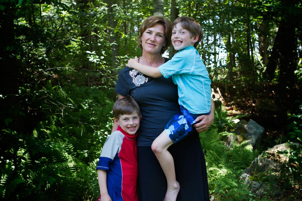 Barbara MacLeod with twin sons Rory, right, and Lane (Jesse Costa/WBUR)