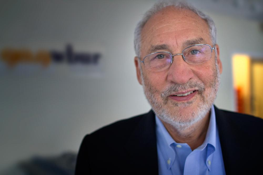 Economist Joseph Stiglitz, at Here & Now studios at WBUR in Boston. (Jesse Costa/ Here & Now)