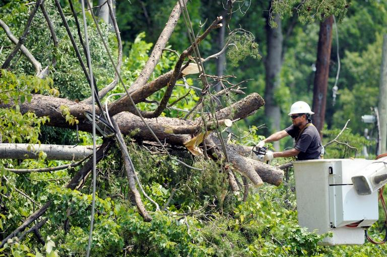 A utility worker clears a downed tree in Springfield, Va., Sunday, July 1, 2012. (AP)