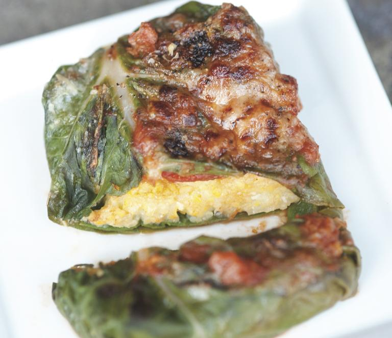 "Polenta-Stuffed Chard with Bubbly Parmesan from ""RIPE,"" © 2012 by Cheryl Sternman Rule. (Photo © 2011 by Paulette Phlipot)"