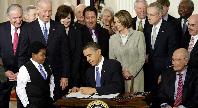 In this March 23, 2010 file photo, President Barack Obama signs the Affordable Care Act in the East Room of the White House. (AP)