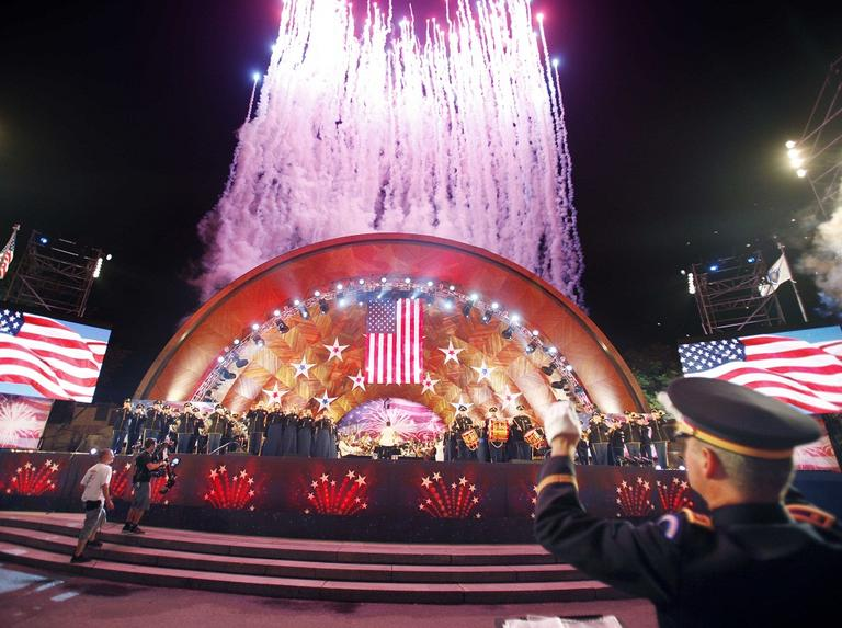 Fireworks over Boston's Hatch Shell in 2011 (AP File)