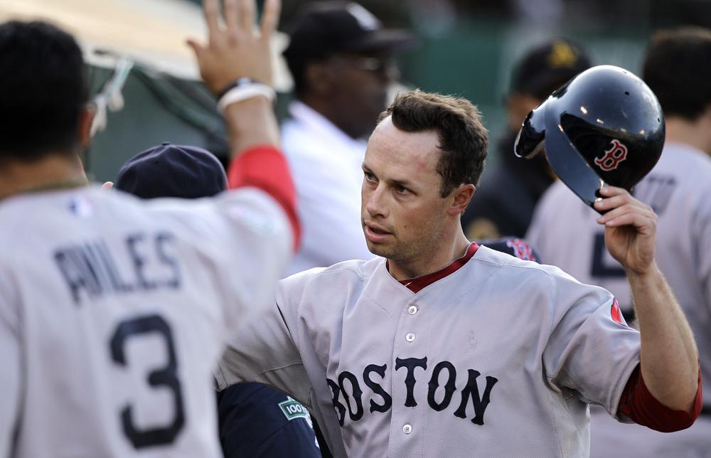 Boston's Daniel Nava, right, is congratulated after scoring against the Oakland Athletics in the first inning of last night's game. (AP)