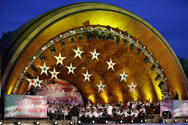 The Boston Pops Orchestra performs during rehearsal for their Fourth of July concert at the Hatch Shell Tuesday, July 3. (AP)