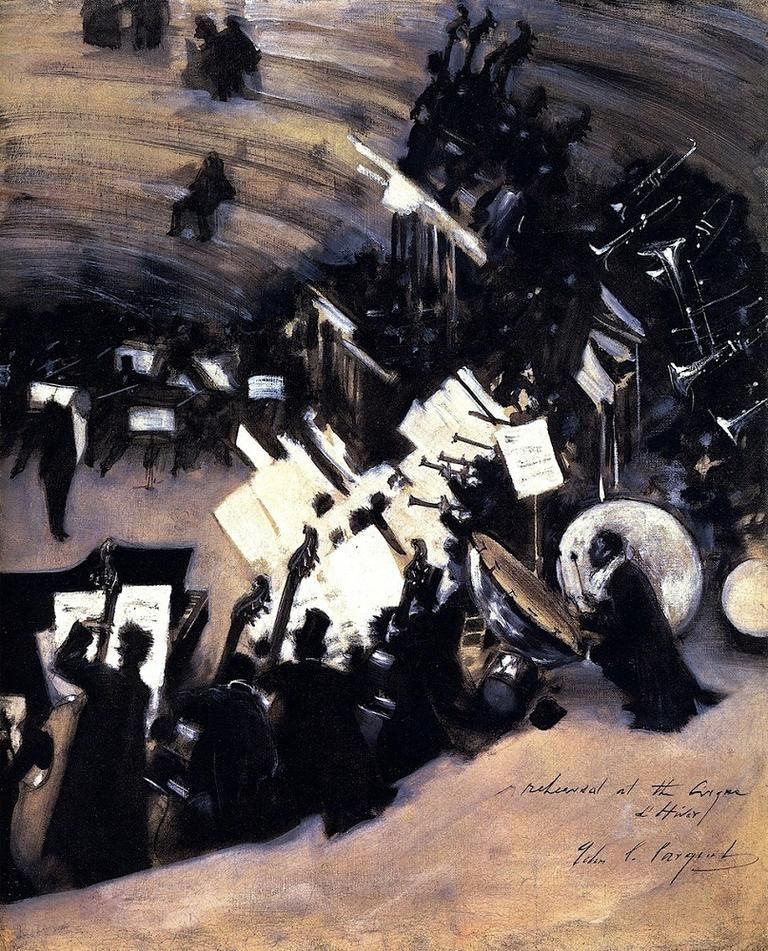 """Rehearsal of the Pasdeloup Orchestra at the Cirque d'Hiver"" by John Singer Sargent, is located at the Boston Museum of Fine Arts. (BoFransson/flickr)"
