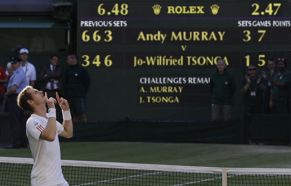 Britain's Andy Murray defeated Jo-Wilfried Tsonga of France Friday to advance to Wimbledon men's final. He's the first British player to advance that far in 74 years. (AP)