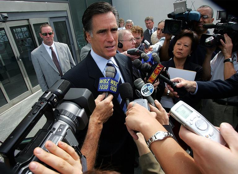Former Massachusetts Gov. Mitt Romney speaks reporters after he addressed the Blue Cross Blue Shield Foundation's health care summit at the John F. Kennedy Library in Boston in 2005. (AP)