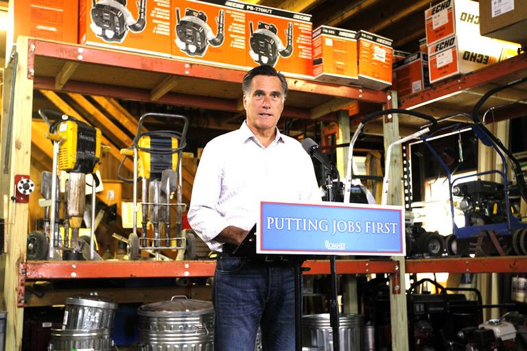 Republican presidential candidate Mitt Romney speaks about job numbers at Bradley's Hardware in Wolfeboro, N.H. (AP)