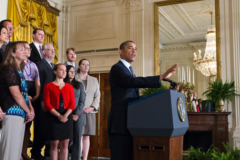 President Barack Obama lays out his plan to extend tax cuts for the middle class, during an announcement from the East Room of the White House in Washington, Monday, July 9, 2012. (AP)