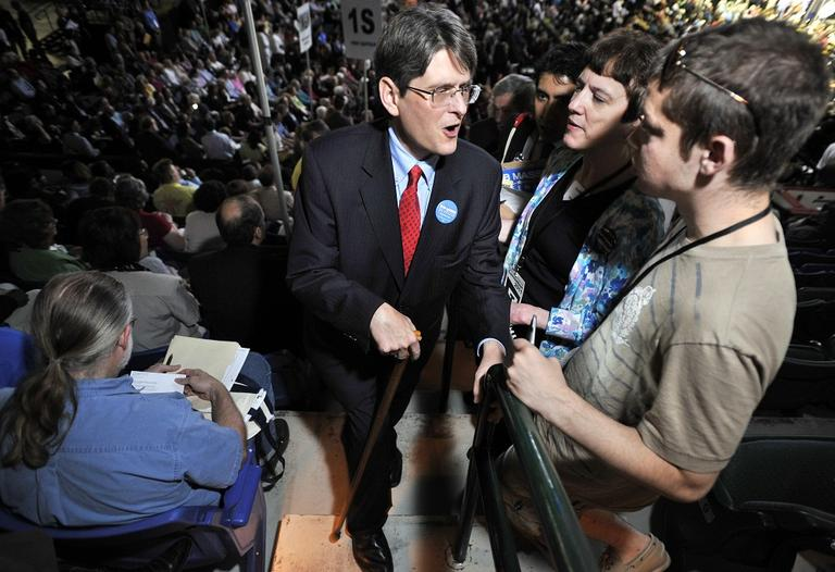 Activist Bob Massie during the Democratic Convention, Saturday, June 4, 2011, at the Tsongas Arena in Lowell, Mass. (AP)