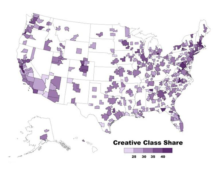 Creative Class share of the workforce is innovation, measured as patents per capita; high tech industry, using the Milken Institute's widely accepted Tech Pole Index. (Bureau of Labor Statistics)
