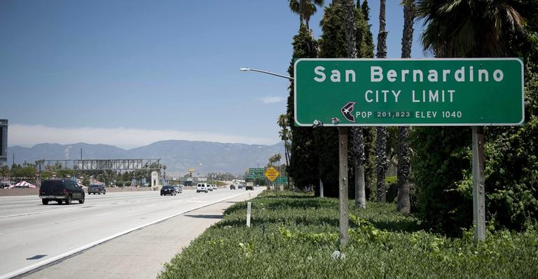 A San Bernardino sign on I-10 East in San Bernardino, Calif. (AP)