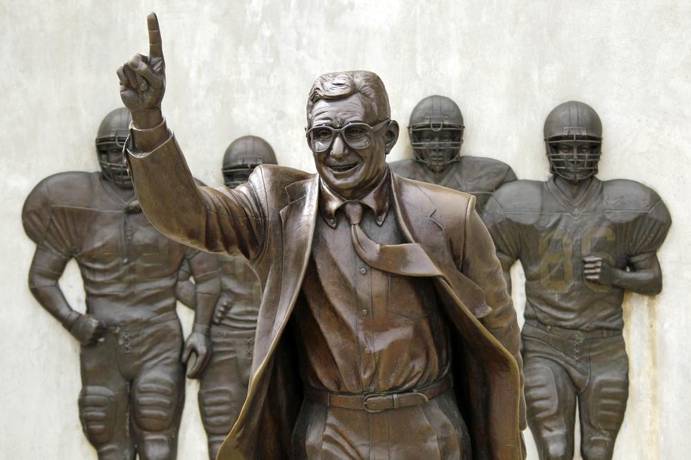 The future of this statue of Penn State head coach Joe Paterno is under review after a 267-page report concluded that Paterno and other school officials covered up child sex abuse allegations against former assistant football coach Jerry Sandusky for more than a decade. (AP)