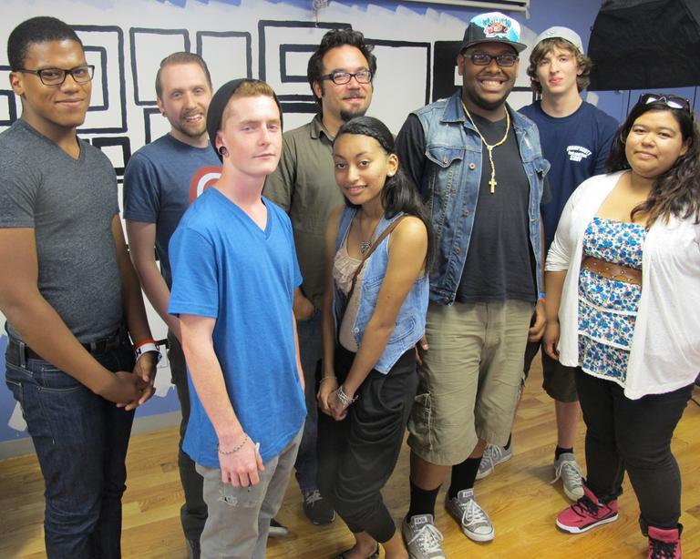 "The group of students from Raw Art Works that worked to create Jen Grygiel's ""Make it Out"" video. (Andrea Shea/WBUR)"