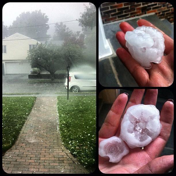 Hail from Wednesday's storm in Lynn (Natasha Koroleva/Instagram)
