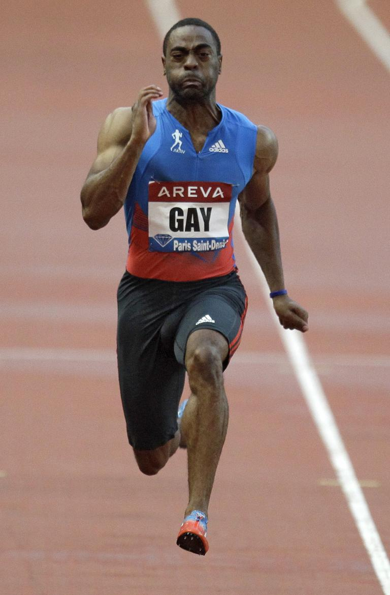 Tyson Gay of USA wins the 100m men's race at the IAF Diamond League athletics meeting at the Stade de France in Saint-Denis, north of Paris, 2012. (AP)