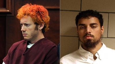 James E. Holmes (left) appears in Arapahoe County District Court in Centennial, Colo. Rezwan Ferdaus (right) allegedly plotted to fly explosives-packed model planes into the Pentagon and U.S. Capitol. (Department of Justice/AP/Denver Post, RJ Sangosti, Pool)
