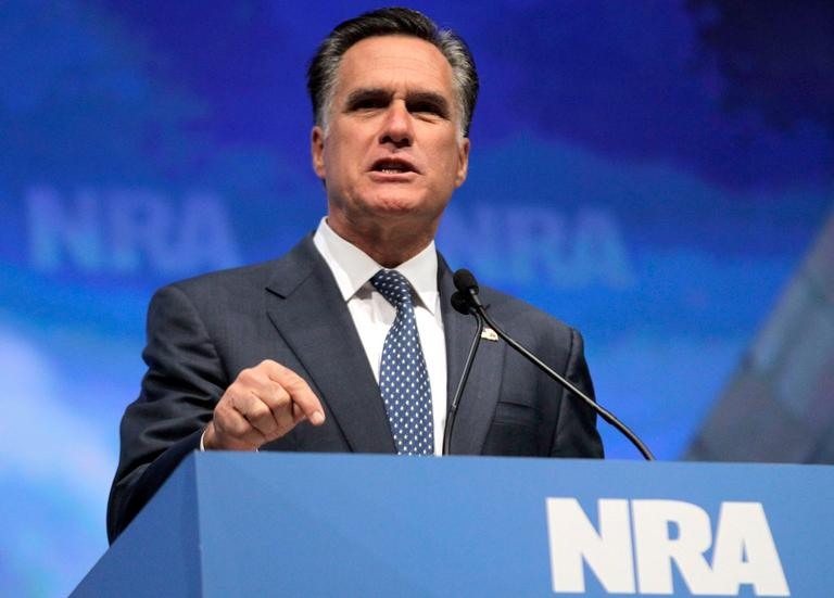 Mitt Romney speaks at the National Rifle Association convention in St. Louis on April 13. (AP)