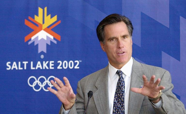 Mitt Romney speaking at the Salt Lake Olympics in 2002. (AP)