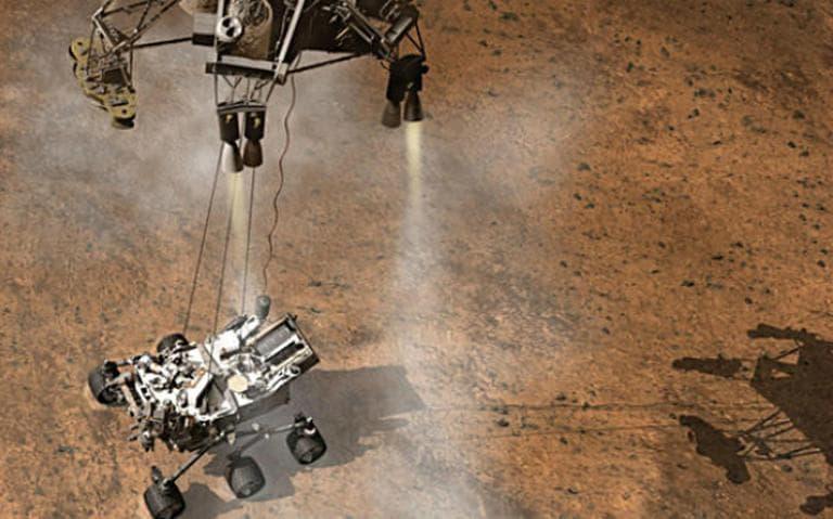This artist's concept depicts a sky crane lowering NASA's Curiosity rover onto the Martian surface. (JPL-Caltech/NASA)