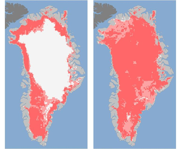 These images show the extent of surface melt over Greenland's ice sheet on July 8, left, and July 12, right. (AP /Nicolo E. DiGirolamo, SSAI/NASA GSFC, and Jesse Allen, NASA Earth Observatory)