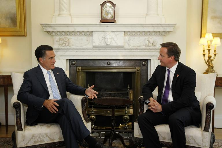 Republican presidential candidate, former Massachusetts Gov. Mitt Romney meets with British Prime Minister David Cameron at 10 Downing Street†in London, Thursday, July 26, 2012. (AP)