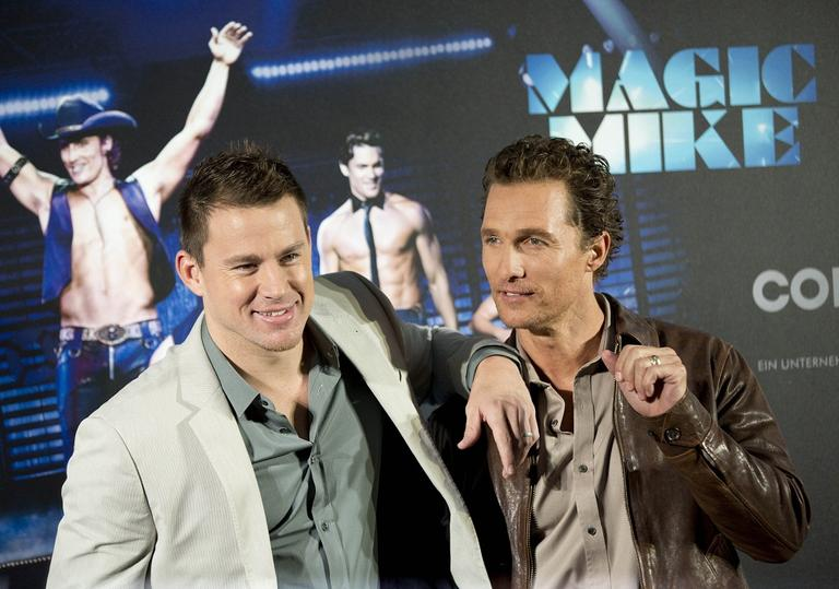 "Matthew McConaughey, right, and Channing Tatum, left, pose during a photo call for the movie ""Magic Mike"" in Berlin, Germany. (AP)"