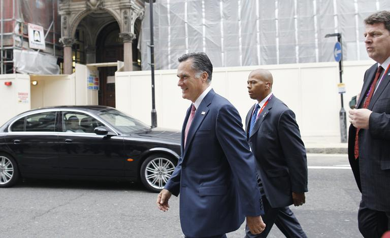 Republican presidential candidate and former Massachusetts Gov. Mitt Romney in London, Friday. (AP)