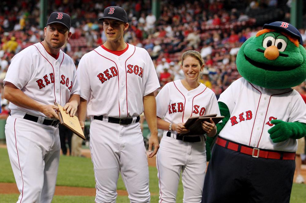 He's the one on the right: Wally the Green Monster (SoxyLady/Flickr)