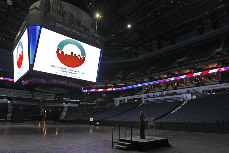 Democratic National Committee Chair Debbie Wasserman Schultz speaks at Time Warner Cable Arena during a media walk through for the Democratic National Convention in Charlotte, N.C., Tuesday, June 5, 2012. (AP)