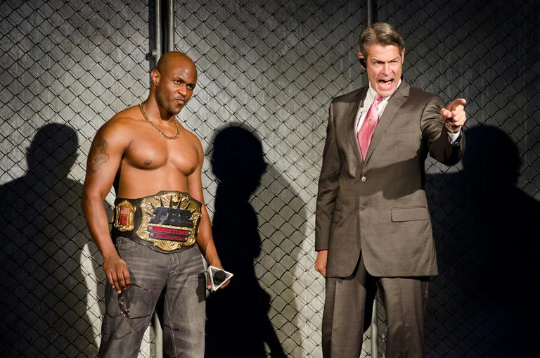 Chris Leon and Peter Brown in 'The Elaborate Entrance of Chad Deity.' (Photo courtesy of Company One/Liza Voll)