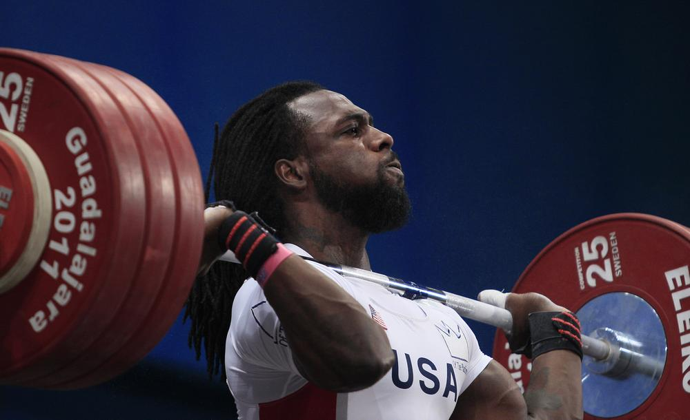 Kendrick Farris, from the United States, lifts 191kg during the men's 85 kg weightlifting event at the Pan American Games in Guadalajara, Mexico, Tuesday, Oct. 25, 2011. Farris won the bronze medal. (AP)