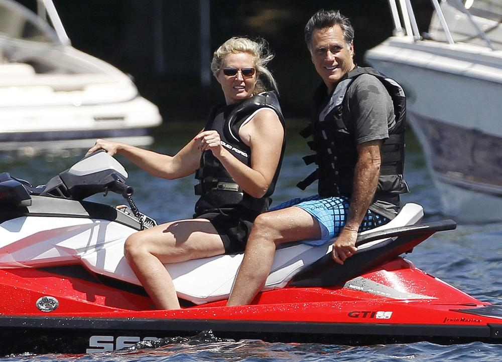 Republican presidential candidate, former Massachusetts Gov. Mitt Romney and wife Ann Romney jet ski on Lake Winnipesaukee in Wolfeboro, N.H., Monday, July 2, 2012. (AP Photo)