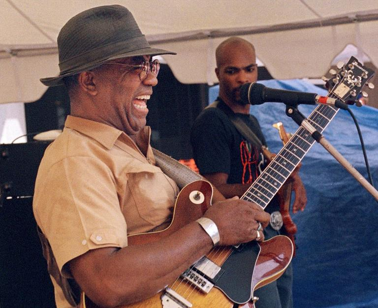 Blues guitarist and singer W.C. Clark of Austin, Texas performers at the Lowell Folk Festival in 1999. (AP)
