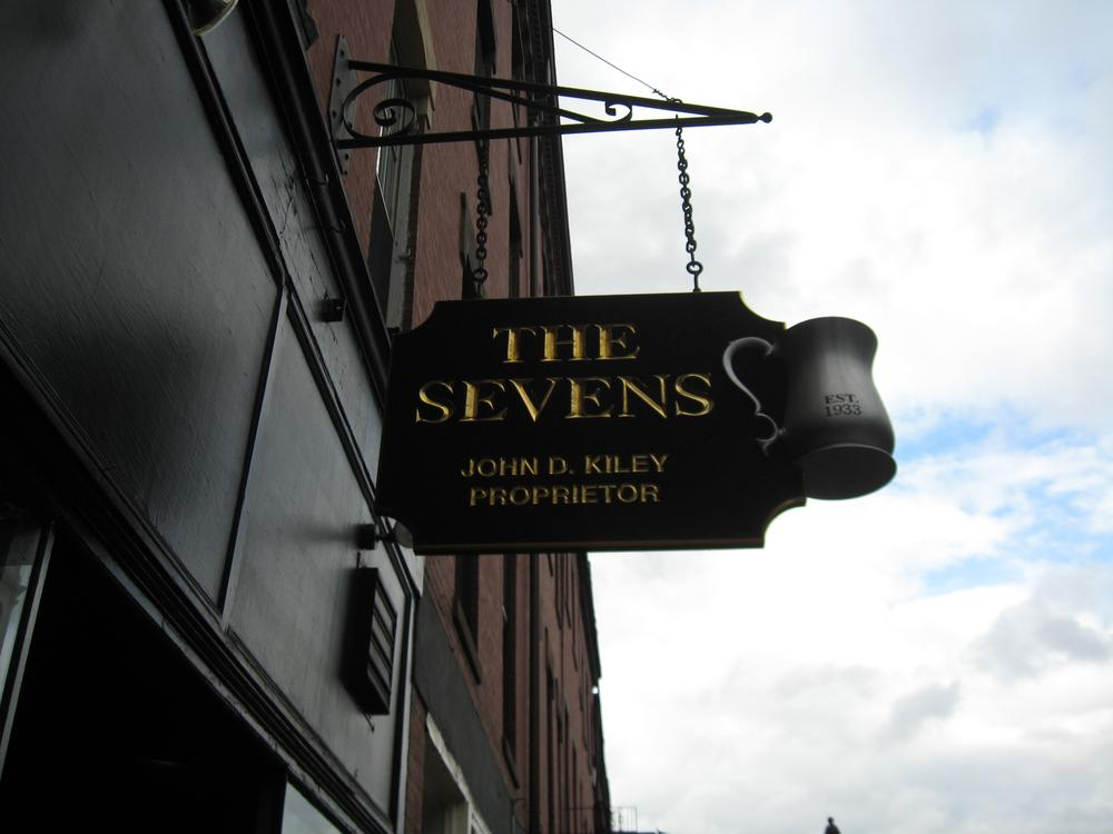 "The Sevens Pub, where member's of ""Writer's Anonymous"" gathered to create their latest work. (Meghna Chakrabarti/WBUR)"