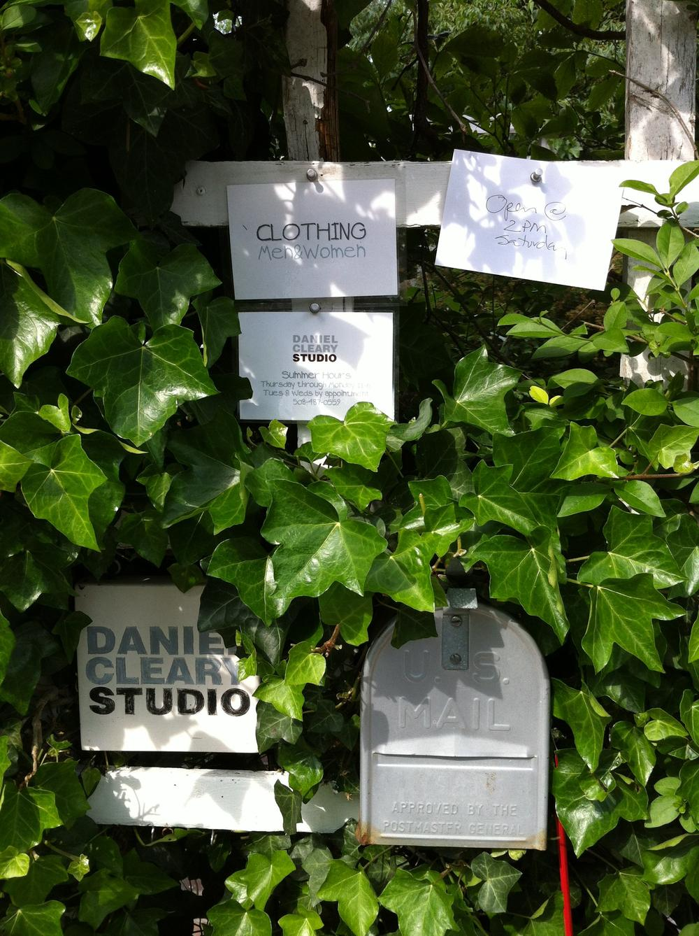 Buried in the ivy, all the information visitors to Daniel Cleary's cottage need to know. (Cheryl Katz)
