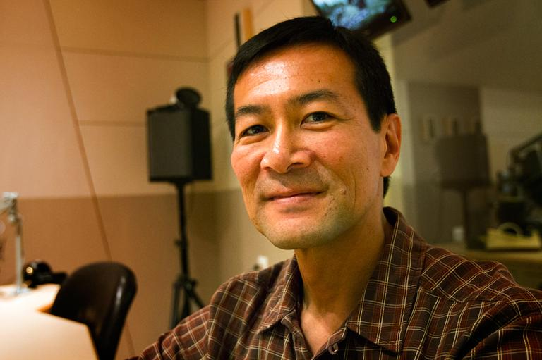 Author Don Lee at Here & Now studios at WBUR in Boston. (Jesse Costa/Here & Now)